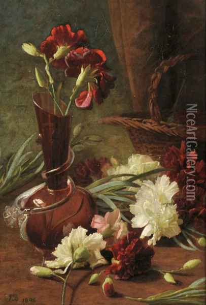 Still Life with Carnation Oil Painting - Anonymous Artist