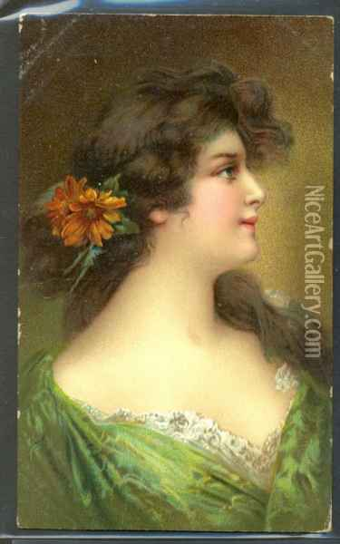 Beautiful Lady Red Flower In Hair Oil Painting - Anonymous Artist