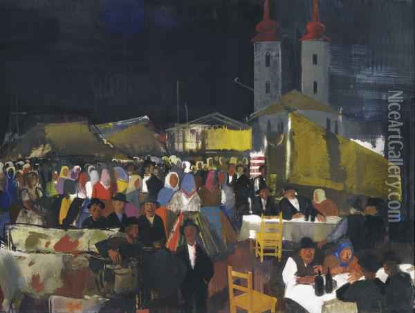 Figures In A Village Market Oil Painting - Vilmos Aba-Novak