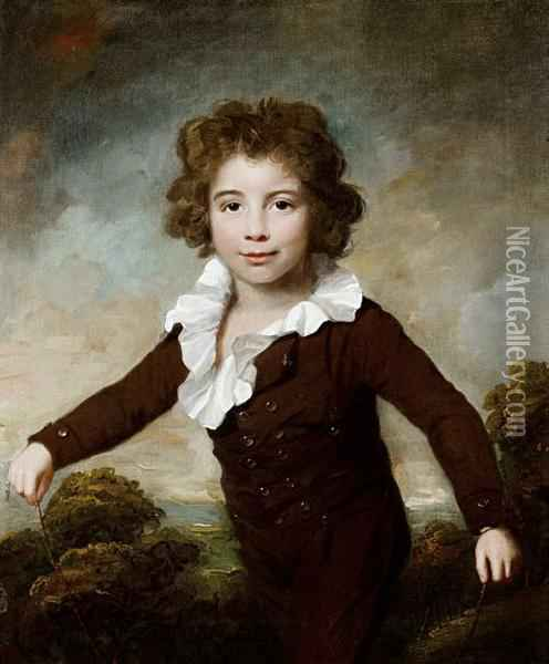 Portrait Of A Young Boy, Three-quarter-length, In A Brown Coat And Breeches, Holding A Skipping Rope Before A Landscape Oil Painting - Lemuel Francis Abbott