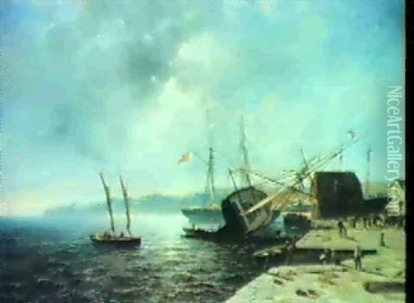 A Port Town Oil Painting - Andreas Achenbach