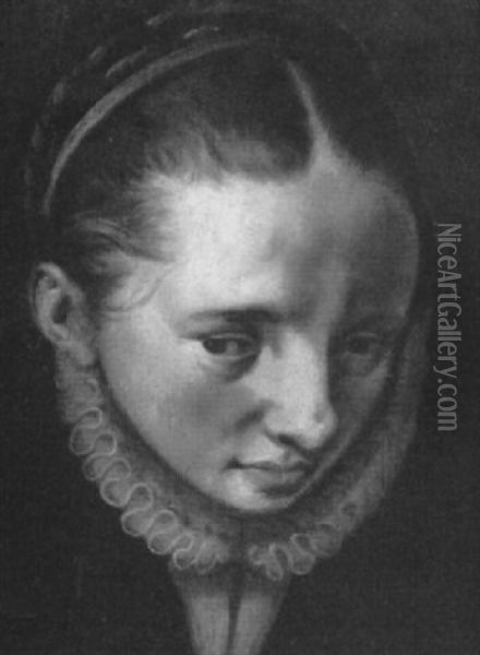 Head Of A Woman, A Fragment Oil Painting - Pieter Aertsen