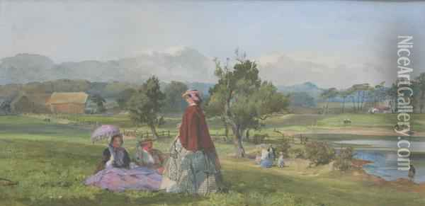 A Summer Day In A Country Park Oil Painting - John Absolon