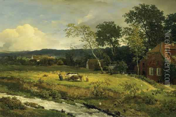 Landscape In Hessen Oil Painting - Andreas Achenbach