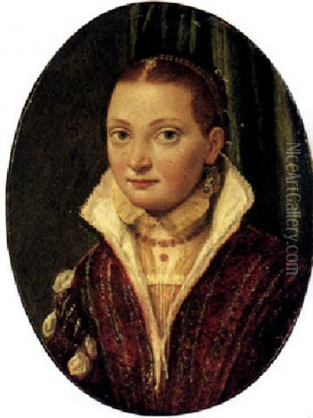 Portrait Of Sofonisba Anguissola, Half Length, Wearing A Red Doublet Over A Cream Shirt, With Blue Pearl Drop Earrings Oil Painting - Lucia Anguissola