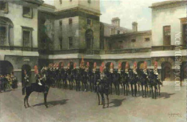 The Royal Horse Guards, Guard Mounting Parade, Whitehall Oil Painting - Edouard Armand-Dumaresq