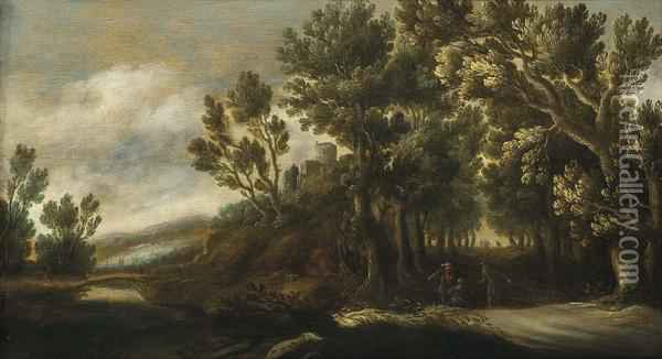 A Wooded Landscape With Figures On A Path, A Castle Beyond Oil Painting - Lucas Achtschellinck
