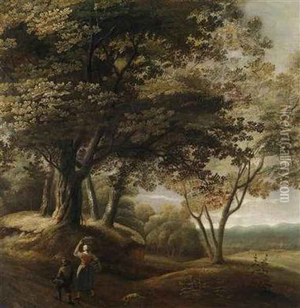 A Wooded Landscape With Travellers Oil Painting - Lucas Achtschellinck