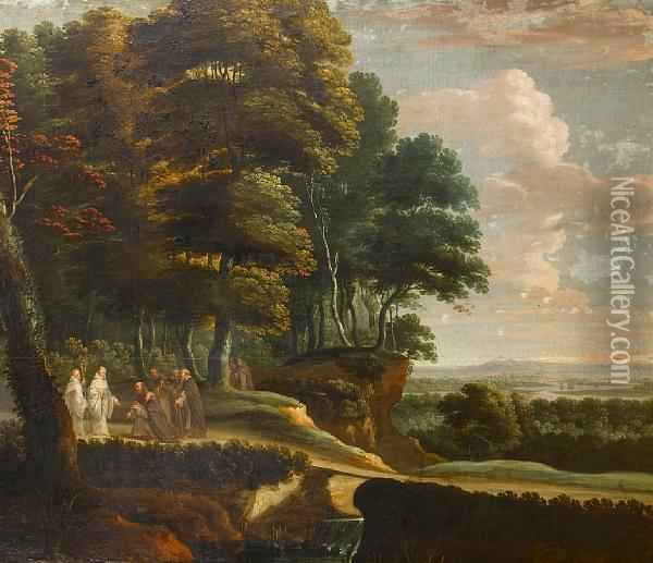Benedictine And Franciscan Monks In Anextensive River Landscape Oil Painting - Lucas Achtschellinck