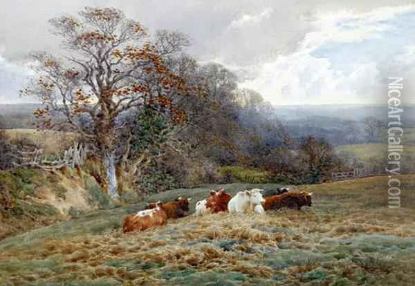Autumn Landscape With Horse, Cart And Sheep On A Stone Bridge, And Another Of Cattle Seated Before A Landscape Oil Painting - Charles James Adams
