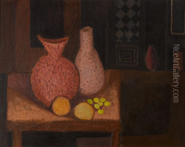 Still Life In Purple And Brown Oil Painting - Arthur Armstrong