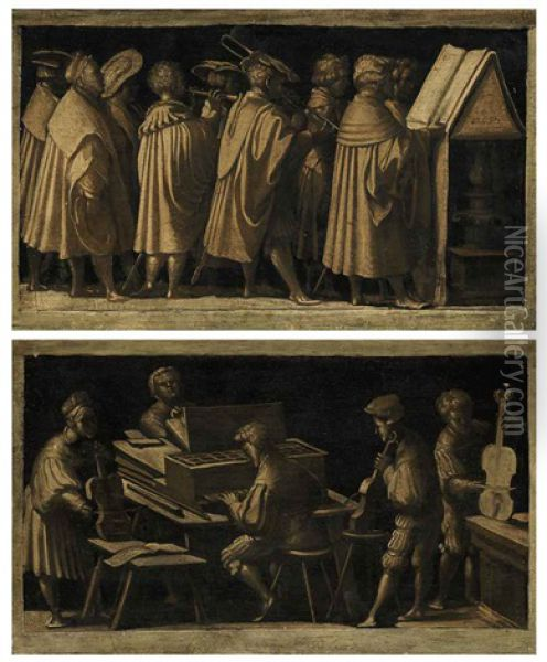 A Procession Of Musicians (+ A Multifold Chamber Organ Player Accompanying A Trio Of Viol Players; Pair) Oil Painting - Amico Aspertini