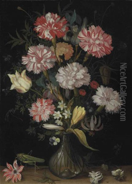 Carnations, A Tulip, An Iris, Fritillaries, A Crocus And Other Flowers In A Glass Vase, With A Grasshopper, A Snail And Other Insects On A Stone Ledge Oil Painting - Balthasar Van Der Ast