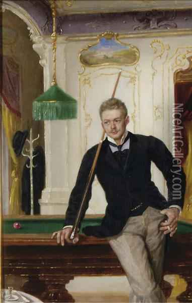 The Billiard Player Oil Painting - John Quincy Adams