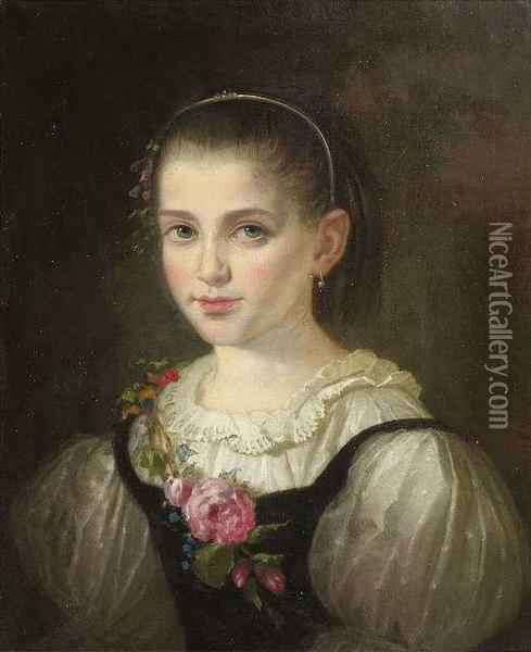 Portrait Of A Young Girl. She Is Wearing A Silk Dress, A Garland Of Roses Is Lying On Her Breast And Shoulder. Oil Painting - Moritz Adler