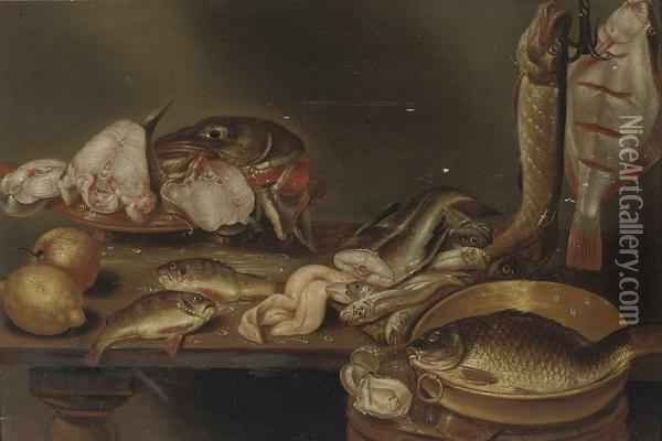 A Lemon, Peach, Fish Heads On A Plate, A Pike And Flatfish On A Hook And Eels, All On A Wooden Table Oil Painting - Alexander Adriaenssen