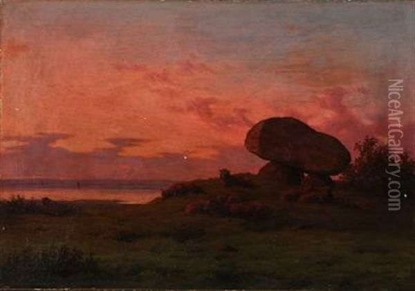 Sunset With Sheep At A Dolmen Oil Painting - Carl Frederik Bartsch