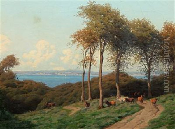 Summer Day With A Shepherd With His Cows, In The Background View To The Sea Oil Painting - Carl Frederik Bartsch
