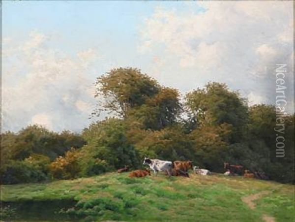 Landscape With Grazing Cows Oil Painting - Carl Frederik Bartsch