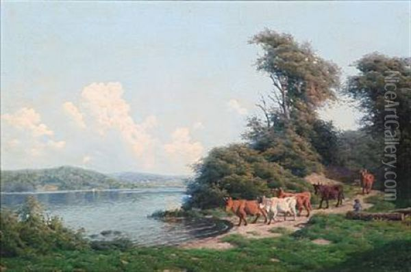 Summer Day With A Shepherd With His Cows At A Coast Oil Painting - Carl Frederik Bartsch