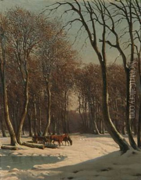 Wintry Landscape Oil Painting - Carl Frederik Bartsch
