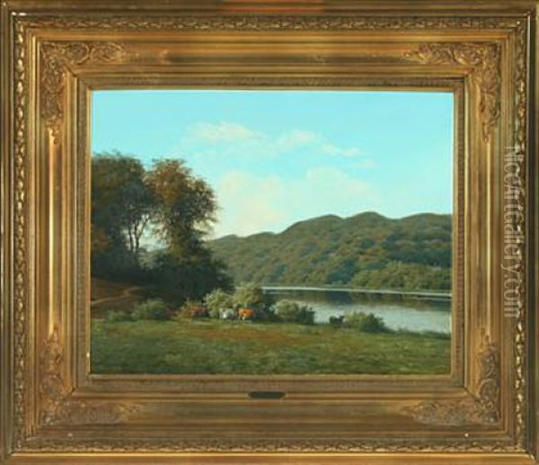 Cows By A Lake Oil Painting - Carl Frederik Bartsch
