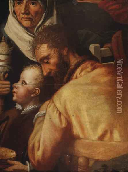 The Adoration Of The Shepherds: A Fragment Oil Painting - Pieter Aertsen