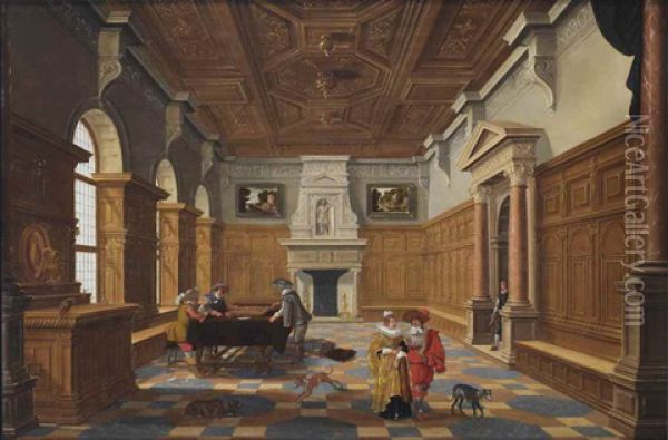 A Palace Interior With An Elegant Company Playing Backgammon Oil Painting - Bartholomeus Van Bassen