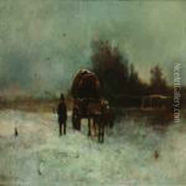 Winterlandscape With Carriage Oil Painting - William Aikman