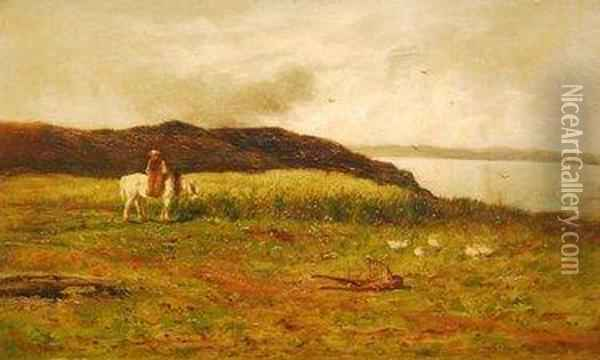 Figure Side Saddle On Horse On A Cliff Path With Seascape Beyond Oil Painting - William Aikman