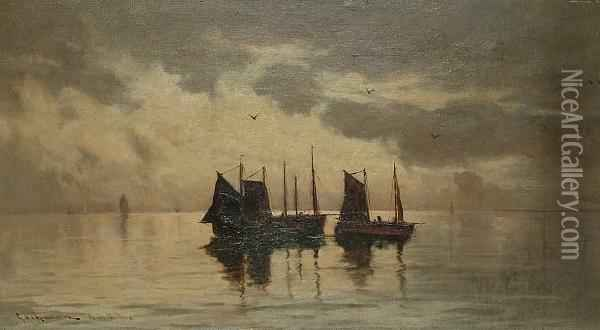 Ships At Dawn Oil Painting - William Aikman