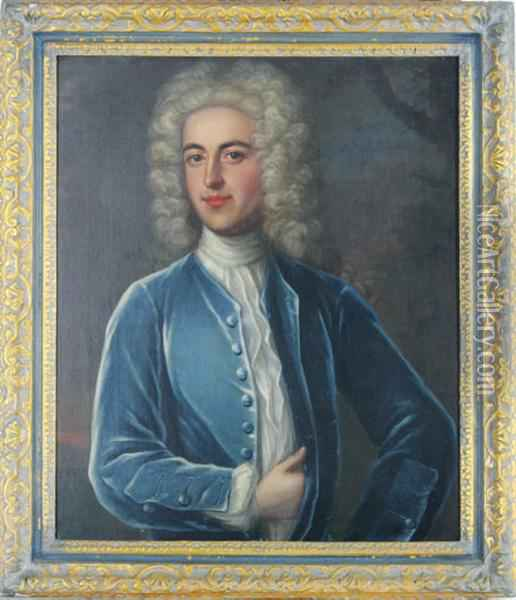 Portrait Of A Gentleman In A Blue Coat Oil Painting - William Aikman