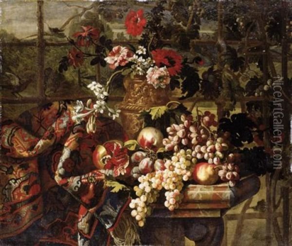 Still Life Of Various Flowers In A Bronze Urn, Together With Pomegranates, Grapes, Pears And Plums On A Marble Table Draped With A Carpet Oil Painting - Jean-Baptiste Belin de Fontenay the Elder