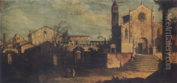 Landscape With A View Of Padua Oil Painting - Pietro Bellotti