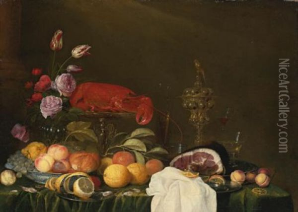 Still Life With A Vase Of Roses And Tulips, A Ham On A Pewter Plate, Glassware, A Lobster And Fruit On A Ledge Oil Painting - Andries Benedetti