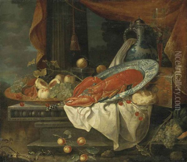 A Lobster In A Porcelain Bowl, With Grapes, Figs, Peaches And Cherries In A Copper Vessel, Bread, A Porcelain Ewer And A Flute Of Wine On A Lacquered Box, On A Partly-draped Stone Entablature, A Draped Column And A Landscape Beyond Oil Painting - Andries Benedetti