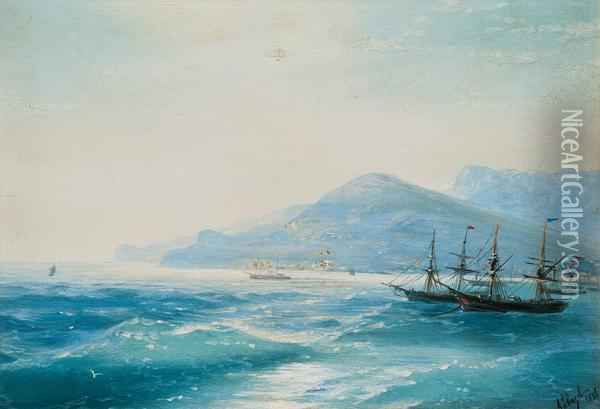 Ships Near The Coast Oil Painting - Ivan Konstantinovich Aivazovsky