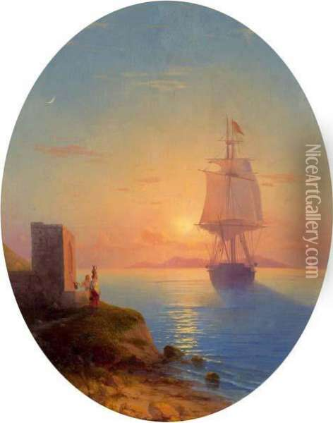 Large Sailing Ship Before The Coast At Sunset Oil Painting - Ivan Konstantinovich Aivazovsky
