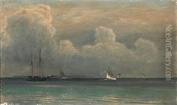 Seascape With Sailing Ships On The Sea Oil Painting - Christian Blache
