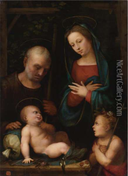 Holy Family With Saint John The Baptist Oil Painting - Mariotto Albertinelli