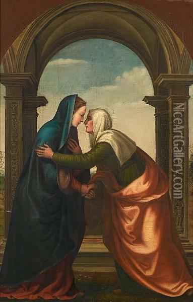 The Visitation Oil Painting - Mariotto Albertinelli
