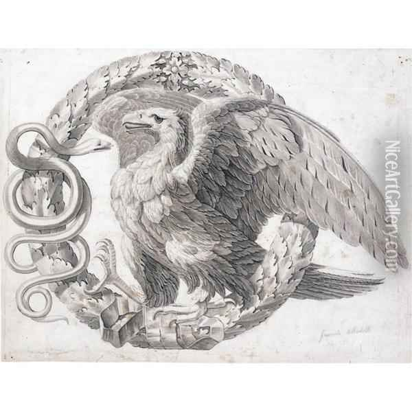 An Ornamental Design With An Eagle And A Snake Within A Crown Of Laurel Leaves Oil Painting - Giacomo Albertolli