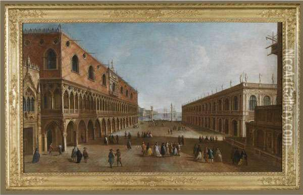 Venice, A View Of The Piazzetta Looking South With The Palazzoducale And The Biblioteca Marciana Opposite, With The Base Of The Campanile Oil Painting - Francesco Albotto