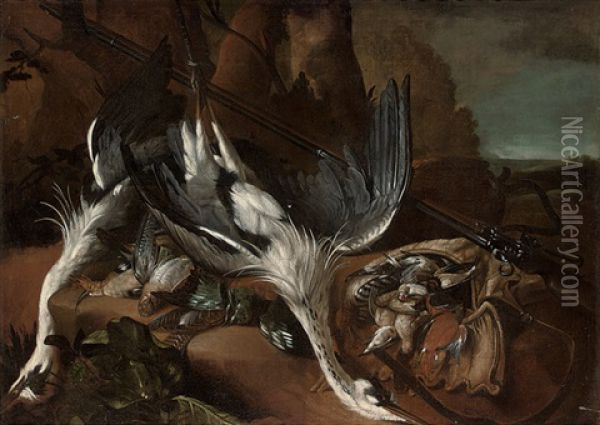 Two Dead Heron, Woodcock And Other Birds, With A Rifle In A Landscape Oil Painting - Pieter Boel