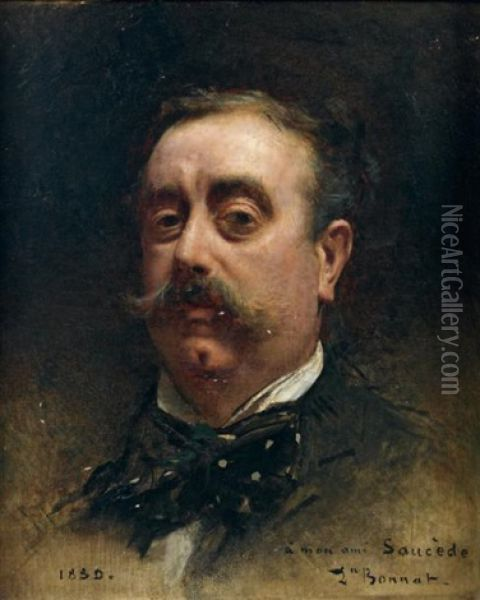 Portrait De Monsieur Saucede Oil Painting - Leon Bonnat