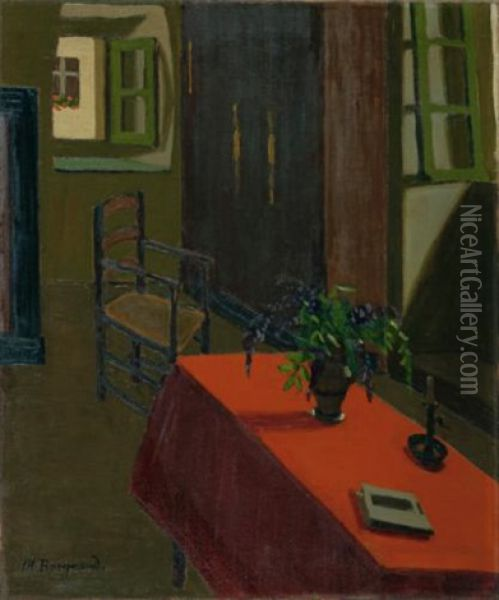 Table Rouge Avec Glycines (red Table With Wisteria) Oil Painting - Marius Borgeaud