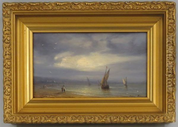 Sandy Shoreline With Figures And Boats Oil Painting - Michel Bouquet