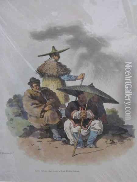 A Group Of Chinese Men Habited For Rainy Weather Oil Painting - William Alexander