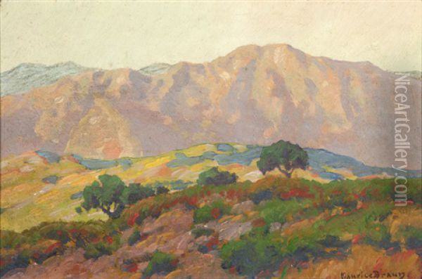 Blooming Hills And Distant Mountains, California Oil Painting - Maurice Braun