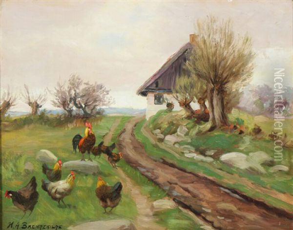 Farmhouse Exterior With Chickens Oil Painting - Hans Andersen Brendekilde